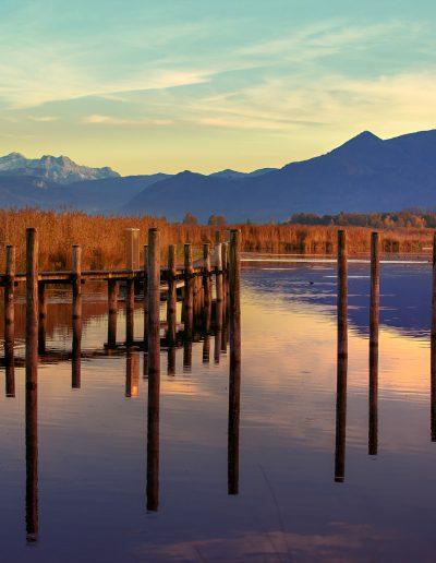 Chiemsee, Sonnenuntergang, Alpen, See, Steg, Berge