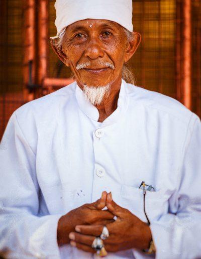 Priester, Tempel, Bali, Indonesien, Bart, Weiß
