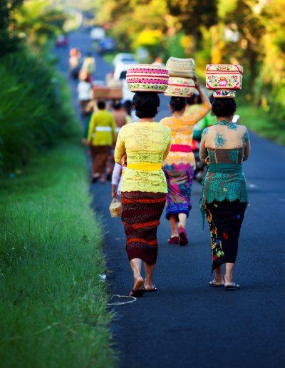 Thai, Indonesien, Bali, Sonnenaufgang, Straße, Korb, Kopf