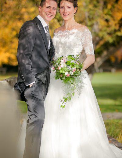 Herbst, See, Steg, Brautstrauß, Diadem, Krone, Prinzessin, Anzug