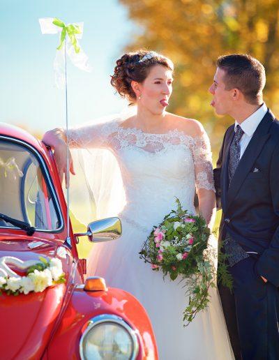 Hochzeitsauto, Käfer, Rot, Brautstrauß, Bouquet, Chiemsee